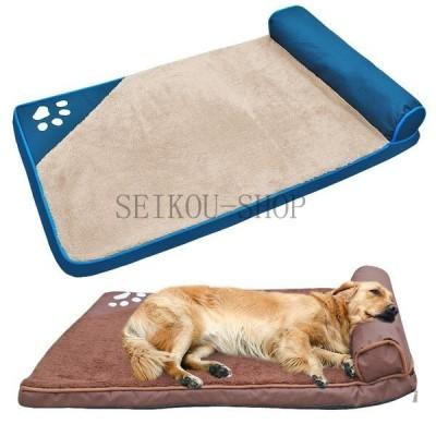 犬のベッド大型犬ペットハウスソファマット犬のベッドで枕犬小屋ソフトペット猫家ブランケットクッションのためのハスキーラブラドール