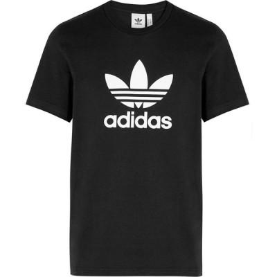 アディダス adidas Originals メンズ Tシャツ トップス Black Logo-Print Cotton T-Shirt Black