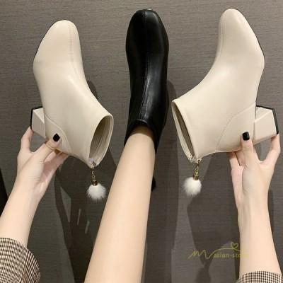 ショートブーツ レディース ラウンドトゥ 靴 シューズ ブーツ チャンキーヒール 美脚 歩きやすい 疲れない バックジップ レザー 通勤 通学 シンプル きれいめ