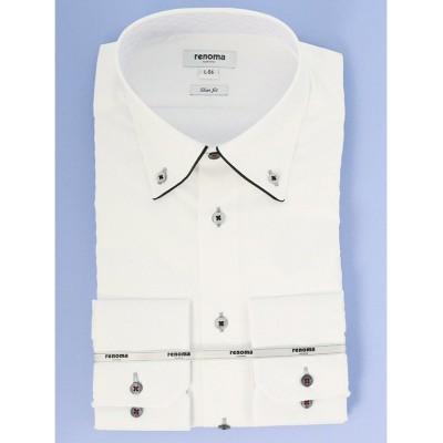(TAKA-Q/タカキュー)形態安定スリムフィット ドゥエボタンダウン長袖ビジネスドレスシャツ/ワイシャツ/メンズ ホワイト