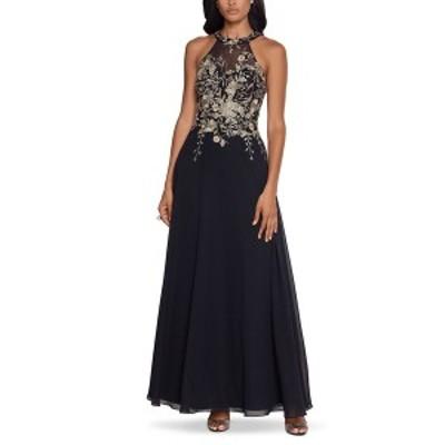 ベッツィ アンド アダム レディース ワンピース トップス Petite Floral-Appliqué Illusion Gown Black/Gold Floral