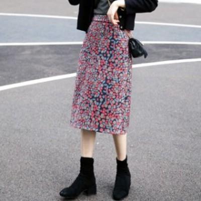 スエードスカート ロングスカート 秋冬 タイトスカート ロング タイト ロングスカートロングタイトスカート 大きいサイズ 花柄