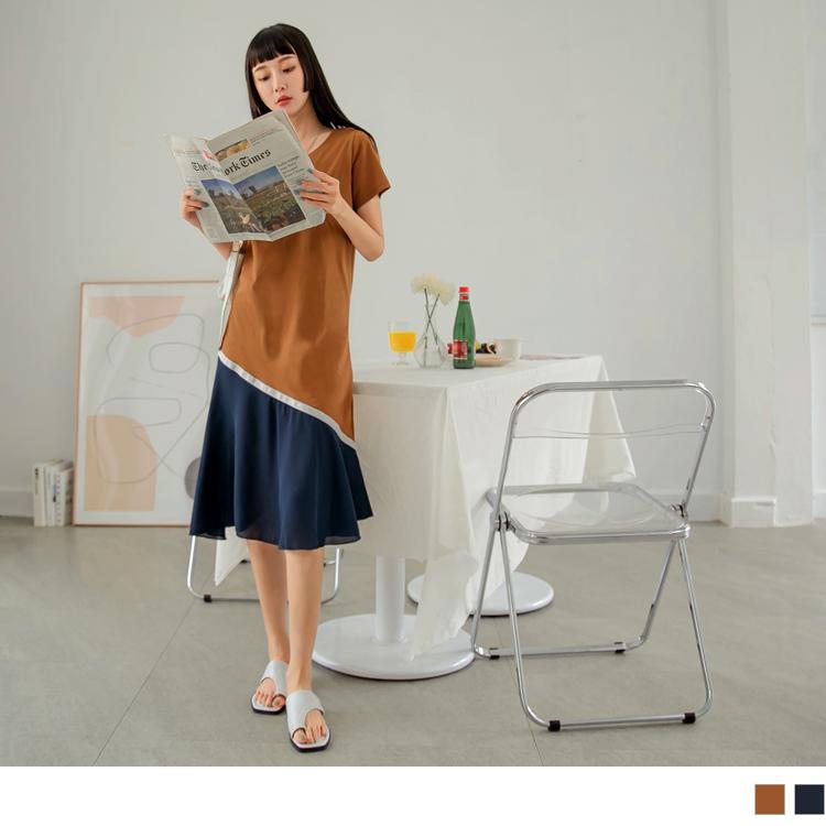 質感高含棉異材質撞色拼接斜襬長洋裝