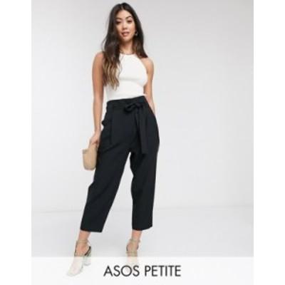エイソス レディース カジュアルパンツ ボトムス ASOS DESIGN Petite tailored tie waist tapered ankle grazer pants Black