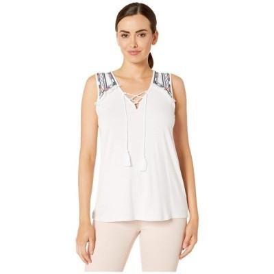 トリバル Tribal レディース ノースリーブ トップス Sleeveless Embroidered Jersey Top White