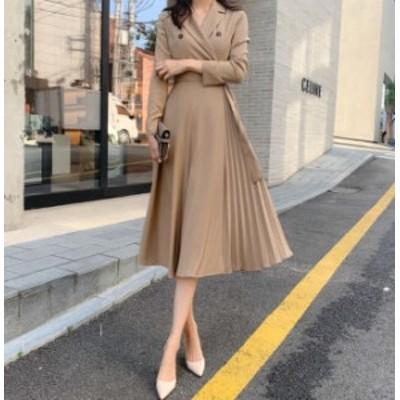韓国 ファッション レディース ワンピース ロング ミモレ丈 プリーツ 切り替え Aライン フレア 長袖 きれいめ 上品 大人可愛い オフィス