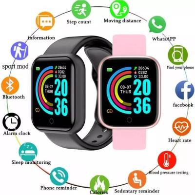 コネクテッドウォッチY68,身体活動モニター,Bluetooth,メンズ レディース用,心拍数と血圧モニター付き
