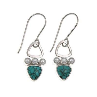 Novica Turquoise Sky Sterling Silver Silver Dangle Earrings For Girls Womens