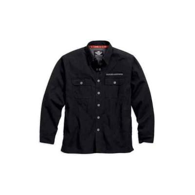 メンズ ウェア Tシャツ ハーレーダビッドソン Harley-Davidson Mens Pinstripe Flames Woven Shirt Jacket, Black 99053-16VM (M)