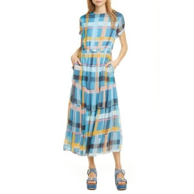 ドラン レディース ワンピース トップス Althea Plaid Short Sleeve Chiffon Dress BLUE AQUA PLAID