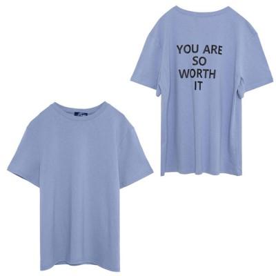 Re:EDIT バックメッセージロゴTシャツ ブルー