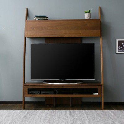 テレビ台 壁面収納 収納付き おしゃれ 国産 日本製 国産 135cm 壁面ラック ラック TV 天然木突板 完成品 リビング ロウヤ LOWYA