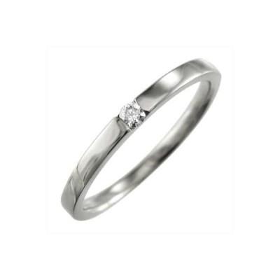 一粒石 平打ち 指輪 結婚指輪にも 天然ダイヤモンド 10kホワイトゴールド