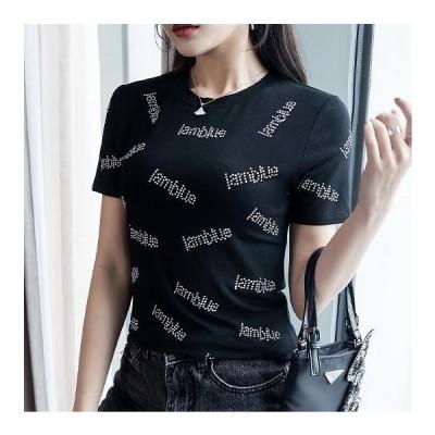 3カラー 半袖Tシャツ テキスト キラキラ ラインストーン スリムカットソー 丸首  プルオーバー 韓国トレンド 細見せ 大人カジュアル
