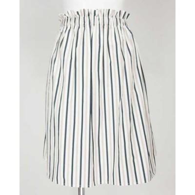 ルクールブラン le coeur blanc 紺ベージュストライプスカート 38