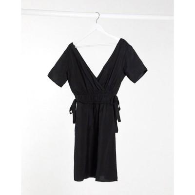 オブジェクト レディース ワンピース トップス Object linen mini dress with tie sides in black Black