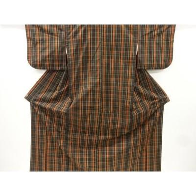 宗sou 格子織り出し米沢紬着物アンサンブル【リサイクル】【着】