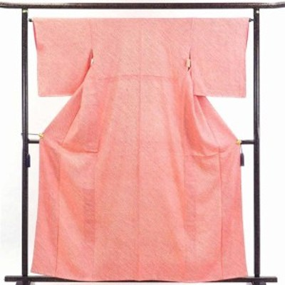 【中古】リサイクル着物 小紋 / 正絹濃いピンク地袷総絞り着物 / レディース【裄Mサイズ】