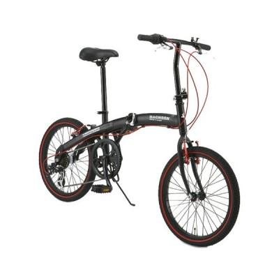 WACHSEN BA-100-BRD ブラック/レッド Angriff(アングリフ) [折りたたみ自転車(20インチ・6段変速)] 折りたたみ自転車・ミニベロ