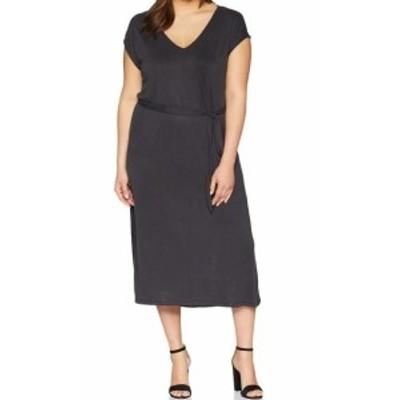 lucky ラッキー ファッション ドレス Lucky Brand Womens Gray Size 2X Plus V-Neck Belted Sheath Dress