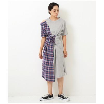 【Alluge】 チェックシャツドッキングワンピース