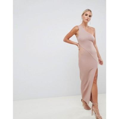 エイソス ASOS DESIGN レディース ワンピース ワンピース・ドレス one shoulder minimal rib mesh maxi dress Nude