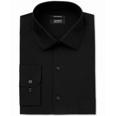 Alfani  ファッション ドレス Alfani NEW Black Mens Small S Solid Performance Pocket Dress Shirt