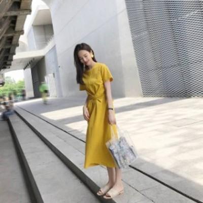 ワンピース Aライン ミモレ丈ウエストラインがキレイなドレス 【a0034】