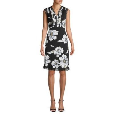 カールラガーフェルド レディース ワンピース トップス Floral Lace Detail Sheath Dress Black Multi