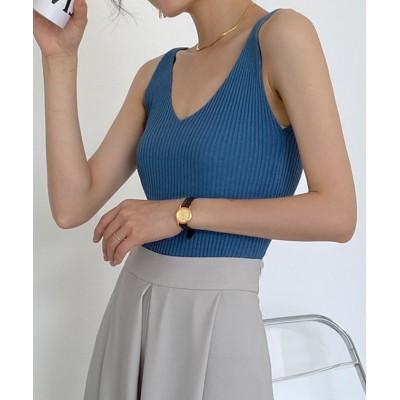 (maison de LATIR/メゾンドラティール)vネックが女性らしい上品さを醸し出すタンクトップ/レディース ブルー