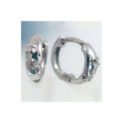 ダイヤモンド ピアス ホワイトゴールド ダイヤピアス ワンタッチ式 K10wg ダイヤ 0.02ct