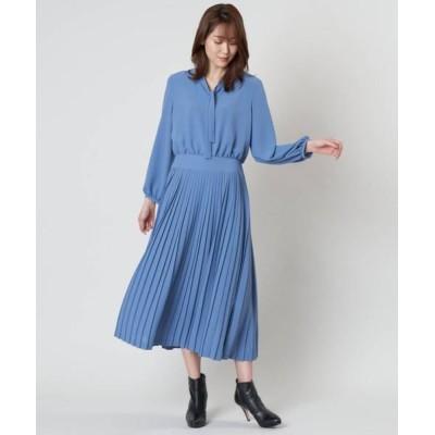 ANAYI/アナイ クレープジョーゼットプリーツワンピース ブルー1 36