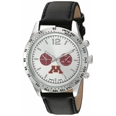 Game Time Mens Letterman  Metal and Leather Quartz Analog Watch, Color:Black (Model: COL-LET-MIN)