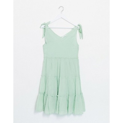 ヴィラ レディース ワンピース トップス Vila mini dress with tie shoulder and frill tiered skirt in green Green