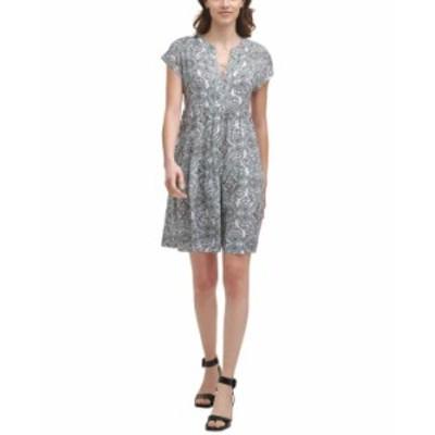 カルバンクライン レディース ワンピース トップス Printed Tiered A-Line Dress Jadite Multi