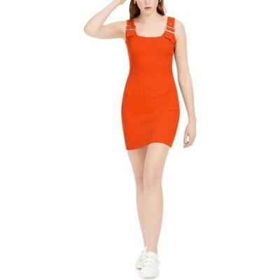 バースリー Bar III レディース ボディコンドレス タイト ワンピース・ドレス Buckle-Detail Bodycon Sweater Dress Orange Pepper