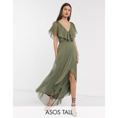 エイソス レディース ワンピース トップス ASOS DESIGN Tall maxi split sleeve cape back dress with tie shoulder Olive