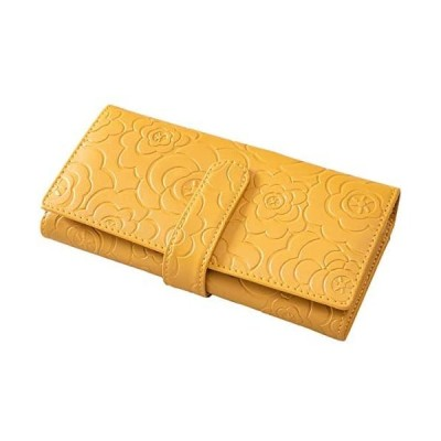 モモ MOMO 二つ折り長財布 アコーディオン型 花柄型押し 全3色 AN-3006 (イエロー)