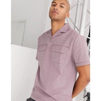 エイソス ASOS DESIGN メンズ ポロシャツ トップス Co-Ord Relaxed Revere Polo Shirt In Acid Wash Woven Fabric With Pockets ブラウン