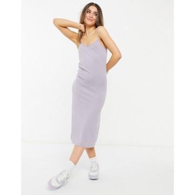 モンキ レディース ワンピース トップス Monki Ariel knitted midi cami dress in lilac Lilac