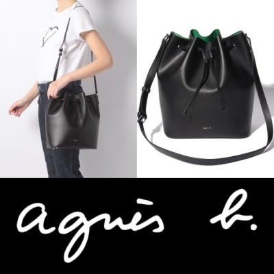 アニエスベー agnes b ロゴ ショルダーバッグ ショルダー 巾着 バッグ レザー ブラック 黒 alice レディース 取り寄せ