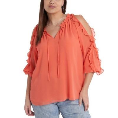 ワンステイト カットソー トップス レディース Trendy Plus Size Ruffled Cold-Shoulder Top Papaya