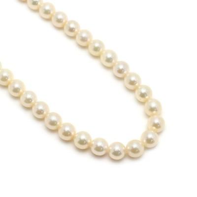 パールネックレス SILVER・パール径7.5mm シルバー 真珠 冠婚葬祭 フォーマル ピンクベージュ系カラー【2B0442】