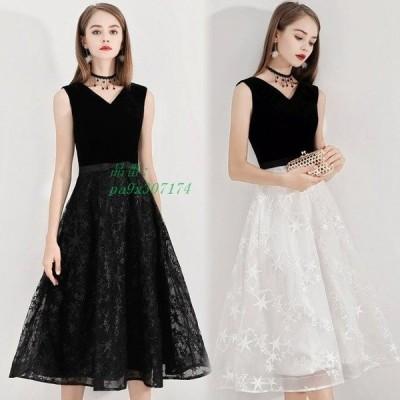 パーティードレス ミモレ丈 ノースリーブ お呼ばれドレス 30代 Aラインドレス 30代 40代 イブニングドレス 黒 白 二次会ドレス 20代 50代