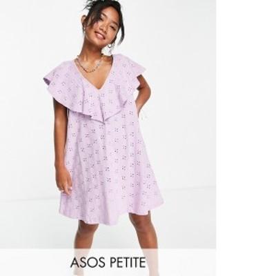 エイソス レディース ワンピース トップス ASOS DESIGN Petite eyelet v frill over layer dress in lilac Lilac