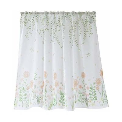 Sunny day fabric カフェカーテン ボタニカルフラワー 幅100cm x 丈70cm (オレンジ)