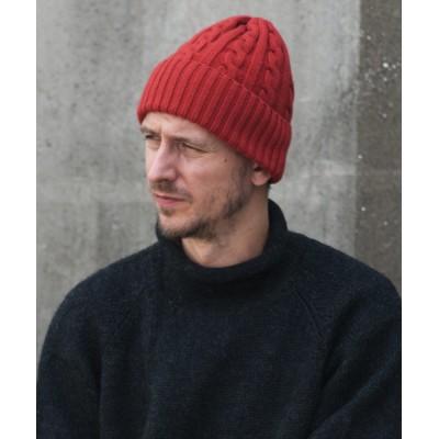 帽子 キャップ Cashmere Mix Wool Cable Knit Cap / カシミヤ混紡ウール ケーブルニットワッチ