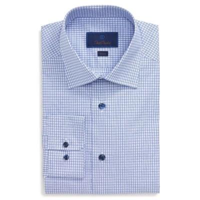 デイビッドドナヒュー メンズ シャツ トップス Slim Fit Dress Shirt BLUE