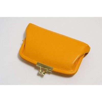 蝶 淀川染 アルカン染 牛革 がま口 財布 日本製 黄