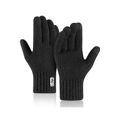 Caseeto メンズ 手袋 ニットグローブ 男性用 厚手 自転車てぶくろ 男の子 通勤通学 タッチパネル可能 スポーツ手袋 運動 ランニン